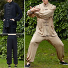 Chinese Kung Fu Mens Tang Suits Cotton Linen Tai Chi Uniform Costume Coat M-3XL