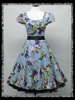 dress190 Blue Floral 50s Rockabilly Cocktail Evening Prom Ball Party Dress 14-22