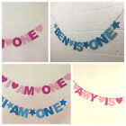 PERSONALISED CHILDS 1st 2nd 3rd BIRTHDAY BANNER. NAME AND AGE BLUES OR PINKS.