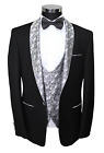 Giangiulio - Black Dinner Suit With Silver Paisley Shawl Lapel