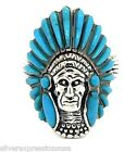 925 Silver Indian Chief  Men's Ring Sleeping Beauty Turquoise Inlay Sz 11,12,13