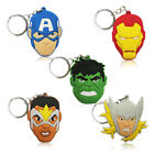 4-5pcs Marvel Avengers Cartoon Figure Key Chain PVC Key Ring Key Holder Pendant