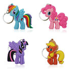4pcs Little Pony Cute Cartoon Figure Key Chain PVC Key Ring Key Holder Pendant