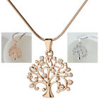 Hollow Out Living Tree of Life Love Heart Leaves Crystal Pendant Chain Necklace