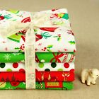 5FQs Christmas Cotton Fabric | Red Green | Fat Quarters Bundle | Bell Reindeer