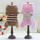 Lovely Stripe Casual Jumpsuit Warm Coat Puppy Small Dog Cat Pet Winter Clothes