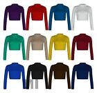 New Womens Polo High Neck Long Sleeve Plain Basic Crop Top Stretchy T-Shirt 8-14