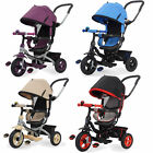4 In 1 Deluxe Tricycle Kids Trike With Rotating/Reclining Seat & Rubber Tyres