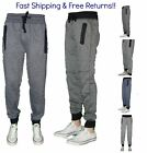 Men Fashion Cotton Fleece Jogger Sportwear Gym SweatPant Zipper Pocket Training