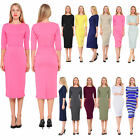 MARYCRAFTS WOMEN'S BUSINESS OFFICE WORK CASUAL PENCIL MIDI DRESSES