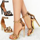 Womens Ladies Studded Ankle Strappy Barely There Sandals High Heels Shoes Size