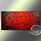 GUDI-Modern Abstract Red Hand-painted Oil Painting Home Deco On Canvas Art Wall