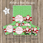 SANTA GREEN STARS CHRISTMAS PERSONALISED CHOCOLATE WRAPPERS X 10