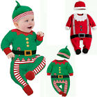 Christmas Newborn Baby Boys Girl Xmas Clothes Romper Bodysuit Hat Outfit Costume