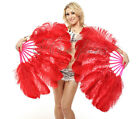 "24"" x 41"" A pair of red Single layer Ostrich Feather Fan Burlesque friend"