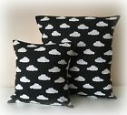 "BLACK WHITE MONOCHROME CLOUD CUSHION COVER 12"" 16"" NURSERY KIDS ROOM COTTON NEW"
