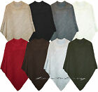 NEW WOMENS LADIES PONCHO CABLE KNITTED PLUS SIZE WARM CAPE WRAP JUMPER SWEATER.