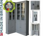 F&B Painted Glazed Corner Unit, Solid Wood 7ft Tall Storage Display Cabinet Unit