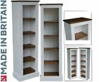 White Painted Bookcase, 5ft Tall Solid Wood Adjustable Display Shelving Unit