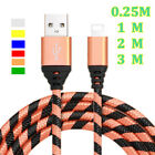 0.25-3m Heavy Braided Fast Charger Charging Data Lead Cable For Iphone 6 7 Plus