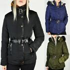 Womens Ladies Winter Coat Puffer Faux Fur Hooded Belted Jacket Quilted Size UK