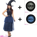 WOMENS DELUXE MIDNIGHT BLUE WITCH HALLOWEEN ADULT FANCY DRESS COSTUME + GLITTER!