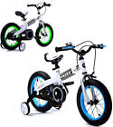 """BLUE AND GREEN 14"""" ROYAL BABY GIRLS BOYS KIDS CHILDREN BIKE WITH STABILISERS"""