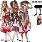 Girls Zombie Kids Childs Halloween Fancy Dress Costume Outfit Age 7-14 Tights