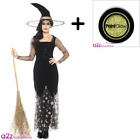 LADIES DELUXE MOON AND STARS WITCH COSTUME WITH HAT + GLITTER