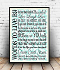 Words to live by : inspirational word art , Reproduction poster, Wall art.