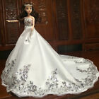 US Handmade White Wedding Party Bridal Gown Dress Clothes Outfit for Barbie Doll