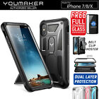 Apple iPhone X 8/7 7/8 Plus Case Cover, YOUMAKER HEAVY DUTY Shockproof KickStand
