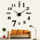 Modern Large 3D Number DIY Mirror Surface Wall Sticker Clock Home Office Decor