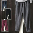 WOO Women Linen Cotton Pants Casual Waistband Long Baggy Loose Harem Trousers