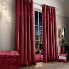 Luxury Raspberry Faux Silk Crushed Velvet Ringtop Curtains 66x72 and 66x90