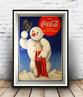 Coca Cola snow man :  Old Magazine Soft drink Advertising : poster reproduction £3.99  on eBay
