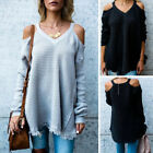 Fashion Ladies Cold Shoulder V Neck Knitted Jumper Womens Baggy Sweater Top New