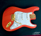 Load. Strat Rep. Body Fiesta Red Kinman Hank Marvin Trem SuperVee BR Gold WPearl
