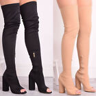 Ladies Womens Over The Knee Boots High Block Heel Peep Toe Shoes Lycra Size 3-9