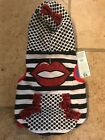 HaraJuku Lovers Dog Hoodie -Black/White W/Red S and M New with tags