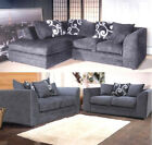 Zina Chenille Corner Sofa LH RH Fabric Grey-Black-Purple Cushion Designers 3 + 2