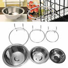 Stainless Steel Hanging Feeding Bowl Pet Bird Dog Food Water Cage Cup New DU