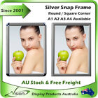 A1 A2 A3 A4 Snap Frame snapframe Click Clip Poster Silver Picture Photo Holder