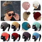 Women CC Beanie Ponytail Hat Bubble Knit Fashion Slouch Winter Gift Christmas