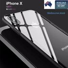 Glass Crystal Clear Back shockproof Bumper Case for iPhone X