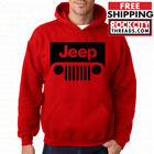 JEEP RED HOODIE Hooded Pullover Sweatshirt Cherokee Wrangler Off Road Dirt Thing