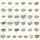 Pack of 4 x Wedding and Baby heart charms 16 - 17mm x 14mm 45+ Variations