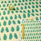 WHITE BLUE TEAL Meter/Fat Quarter/FQ 100% Cotton Fabric FQ Penguin Sewing Craft