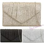Glitter Sparkle Wedding Pleated Ladies Party Prom Evening Clutch Hand Bag Purse