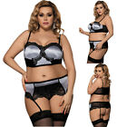 Women Badydoll Garter Belt Set Plus Size M-5X Delicate Mesh Underwire Bra Set